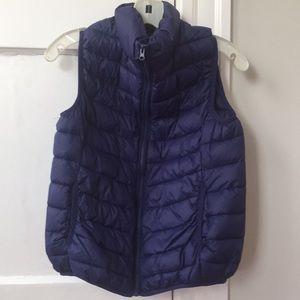 Puffy, lightweight indigo vest, size medium